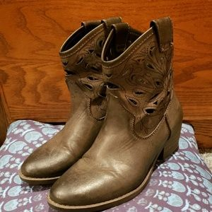Greige cut out ankle booties